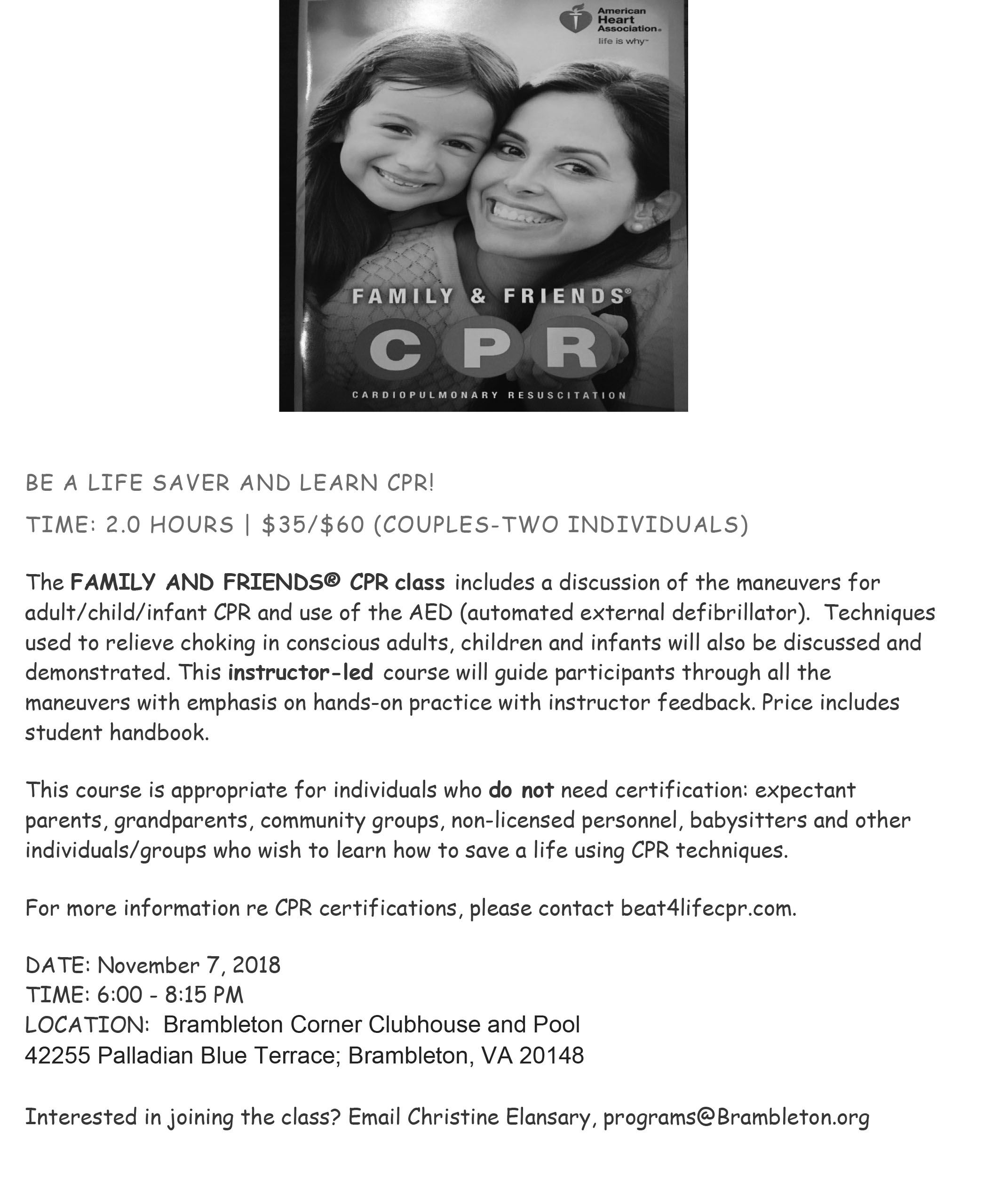 Friends and Family CPR November 7