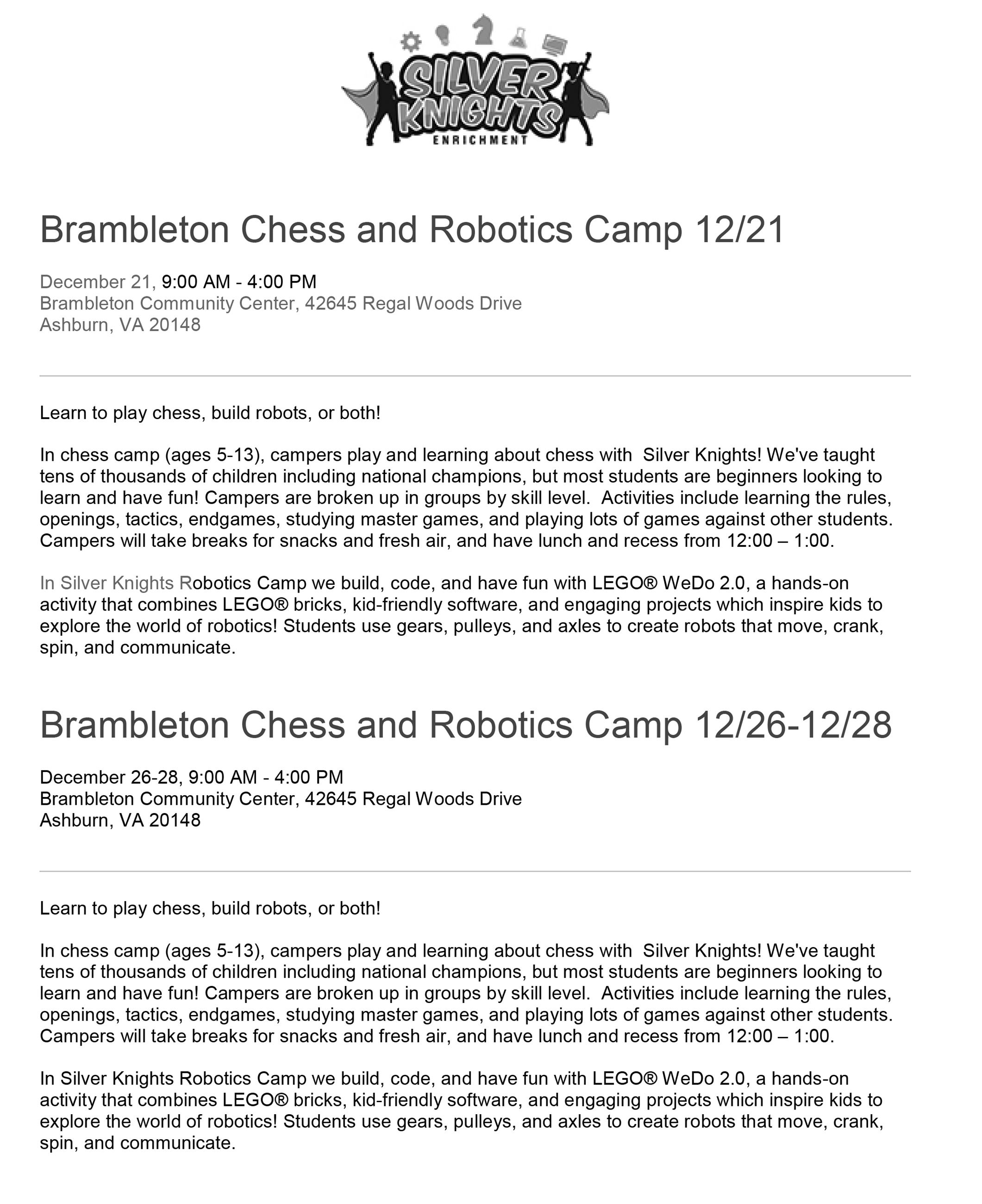 Brambleton Chess and Robotics Camp 2018